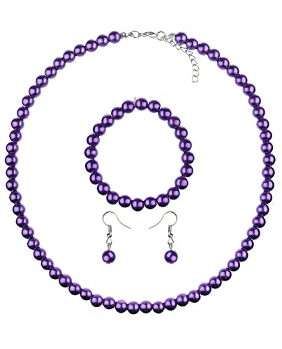 NYFASHION101 Women's 7mm Simulated Pearl Necklace with Stretch Bracelet and Ball Earrings, (Purple Pearl Necklace Bracelet)
