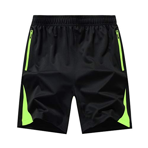 Seaintheson Men's Sport Short,Summer Plus Size Thin Quick Dry Beach Surfing Pants Gym Workout Shorts with Zipper Pockets Green]()