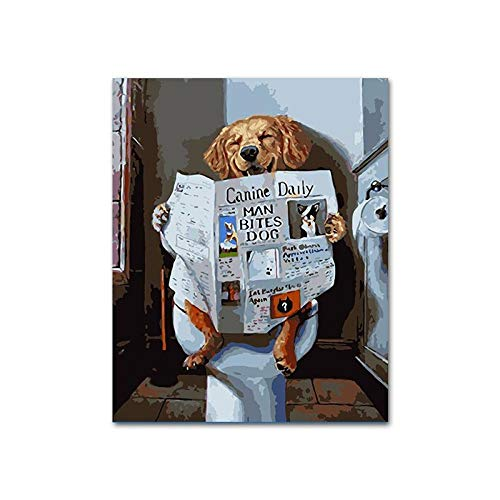 JUNSZYH DIY Oil Painting,Bathroom Reading Newspaper Dog Animal,Oil Paint Painting by Numbers DIY Picture Drawing Coloring On Canvas Painting by Hand Wall Paint by Number,16x20inch NO Frame (Best Paint For Newspaper)