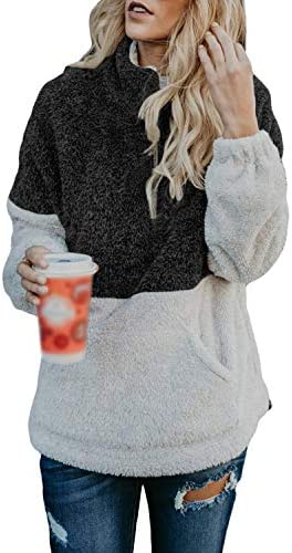 LilyAngel カンガルーポケット付き女性用ジッパーロングスリーブコントラストカラーフワフワプルオーバー (Color : オレンジ, サイズ : S)
