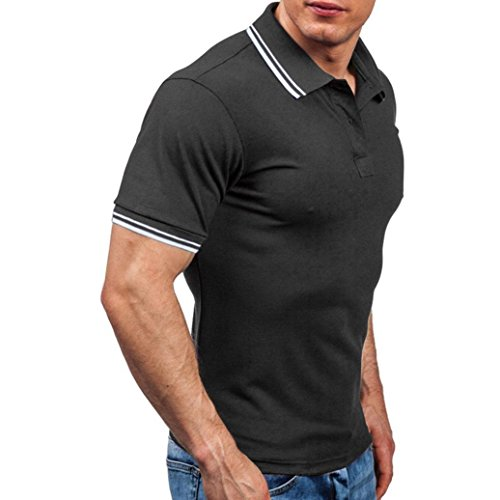 Forthery Men Shirts, Summer Tops Men Casual Slim Fit Short Sleeve Henley T-Shirt (US L = Asia XL, Black)