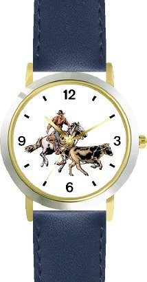 Horse and Rider Chasing Calf in Calf Wrestling Horse - WATCHBUDDY DELUXE TWO-TONE THEME WATCH - Arabic Numbers - Blue Leather Strap-Children's Size-Small ( Boy's Size & Girl's Size ) by WatchBuddy