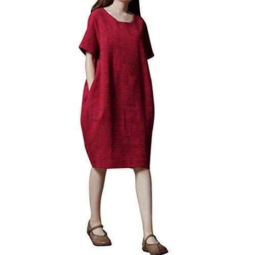 JYC Verano Falda Larga,Vestido De La Camiseta Encaje,Vestido Elegante Casual,Vestido Fiesta Mujer Largo Boda, Tamaño Algodón Sólido Suelto Corto Manga Vestir Rojo