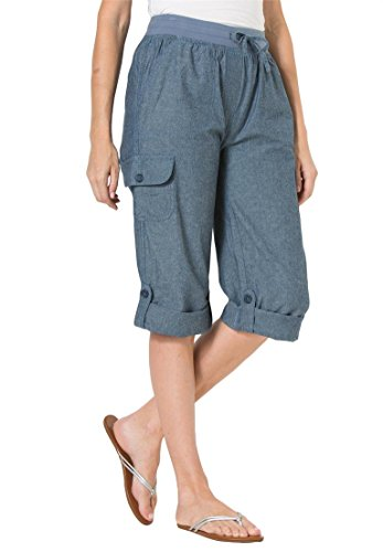 Women's Plus Size Pants, Capri Style In Convertible Lengths Chambray,16 W