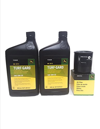 2 Quarts John Deere Turf-Gard SAE 10W-30 Oil Plus AM107423 Filter. Fits Many Lawn Mowers - Check Description