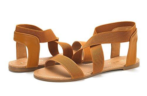 Tan Elatica Strap Sandals Women's Elastic Flat Ankle PAIRS DREAM vFUqfU