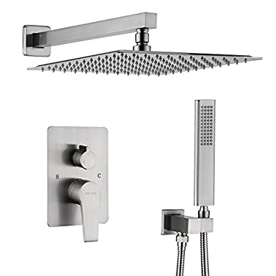 KOJOX Shower System Bathroom Luxury rain shower head with handheld Mixer Shower Combo Set Wall Mounted(Contain Pressure Balance Valve)