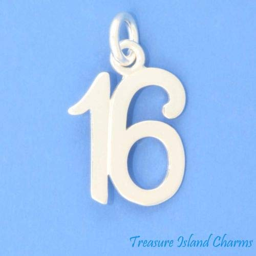 Number 16 16th Birthday Anniversary 925 Sterling Silver Charm Sweet Sixteen Crafting Key Chain Bracelet Necklace Jewelry Accessories Pendants
