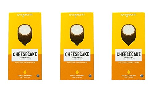 Loving Earth Wholefood Vegan CHEESECAKE Lemon Caramel Organic Chocolate 25 oz Pack of 3
