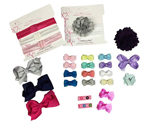 Baby Wisp 26 Assorted Hair Bows and Headbands - Grow Along Gift Set Collection Clips Baby Girls Toddlers (Modern)