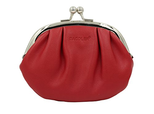 """SADDLER Red Ladies 6"""" Polished Frame Metal Clasp Closure Coin Purse with Credit Card Section"""