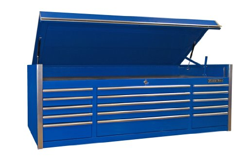 - Extreme Tools EX7215CHBL 15-Drawer Triple Bank Top Chest with Ball Bearing Slides, 72-Inch, Blue High Gloss Powder Coat Finish