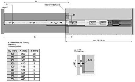 SoftClose 4 Pezzi 2 PAIA 45 Kg Capacit/à di Carico Guide a Uscita Totale 500 mm con Chiusura Automatica e Ammortizzazione