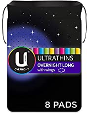 U BY KOTEX Ultrathins U By Kotex Ultrathin Overnight Long Pads with Wings (Pack of 8), Pack of 8 0.14 kilograms