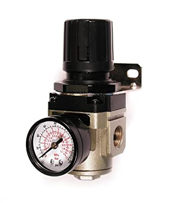 Primefit R3802G Intermediate Air Regulator with Steel-Protected Gauge at 100-PSI, 3/8-Inch NPT