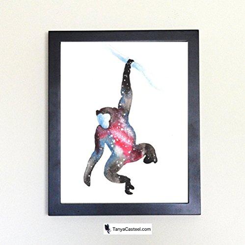 Bonobo Galaxy Spirit Animal Art Print from Watercolor Painting