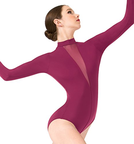 ''Ilona'' Deep V Mesh Long Sleeve Leotard,ME562TEAS,multi-colored,Small by Mariia