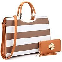 Dasein Women's Handbag PU leather Top Handle Satchel Designer Tote Purse Stripes Laptop Briefcase Bag