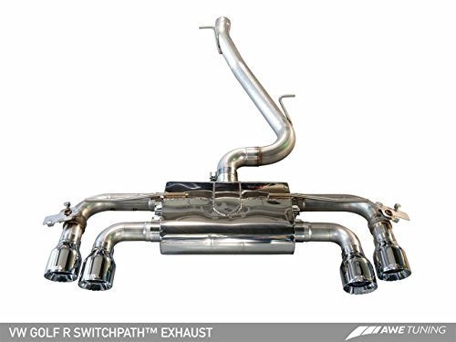 AWE Tuning 3025-43024 Mk7 Golf R SwitchPath Exhaust (with Diamond Black Tips, 102mm) (Supersprint Golf Vw)