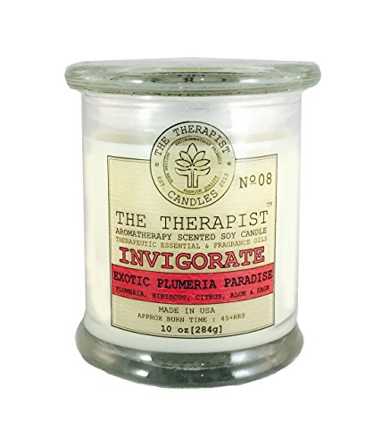 08 Candle - No. 08 Exotic Plumeria Paradise Invigorating Aromatherapy, Exciting, Deodorizing, Odor Eliminator, Scented Soy Candle MADE in USA