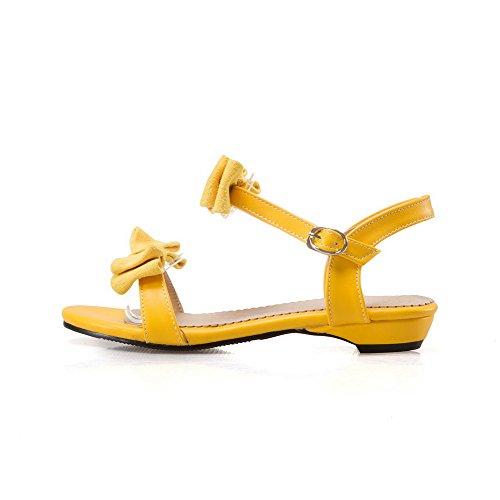 AdeeSu Ladies Bows Buckle Round-Toe Urethane Sandals Yellow pzWUIS9C
