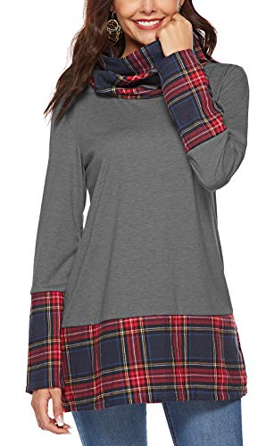 Gray Buffalo Plaid Cowl Neck Top for Women Long Sleeve Extra Long Sweatshirt