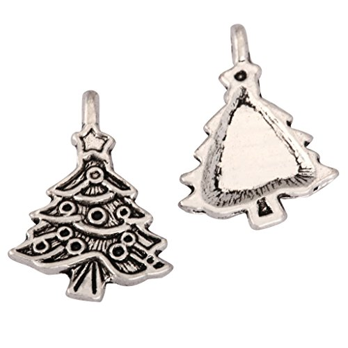 20 x Christmas Tree Charms Beads 20x17mm Antique Silver Tone for Charms Bracelet Necklace Jewelry Findings #mcz1214 (Tone Crystal Christmas Tree)
