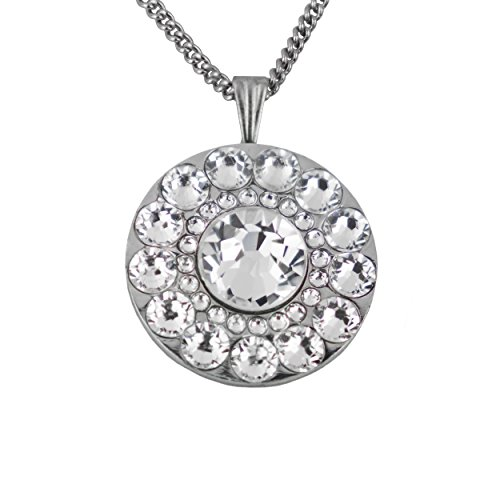 Girls Golf Bling Swarovski Crystal Golf Ball Markers with Magnetic Necklace - Premium Golf Gifts for Women (Crystal Point Clear) ()