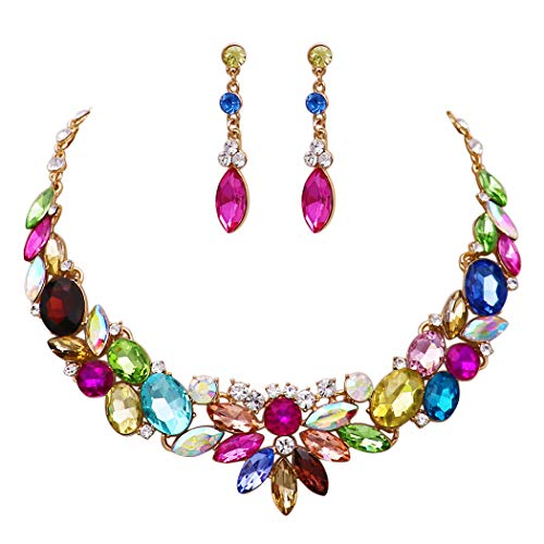 Rosemarie Collections Women's Oversize Statement Multi Color Crystal Collar Necklace and Dangle Earrings Jewelry Set