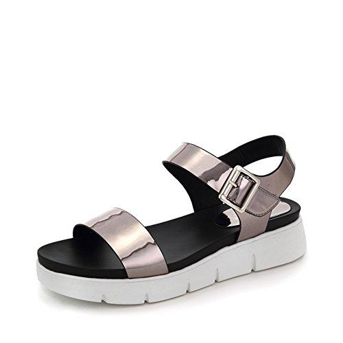College Style Plateau Schuhe,Runder Kopf Mit Einem Wort,Velcro,Keil Sandalen C