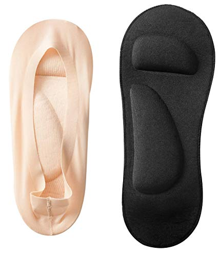 Women's No Show Nylon Socks Arch Support Sponge Cushion Liner (2 Pairs) (Shoe-Size 9-11, Black+Nude)