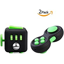 FIDGET DICE Fidget Toys Pack of 2, Fidget Pad and Cube Set, For Work/Class/Home, Black and Green