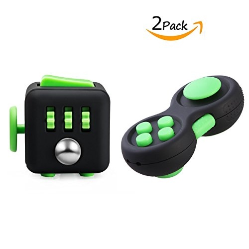 FIDGET DICE Fidget Toys Pack of 2, Fidget Pad and Cube Set, For Work/Class/Home, Black and Green - Cube Pad