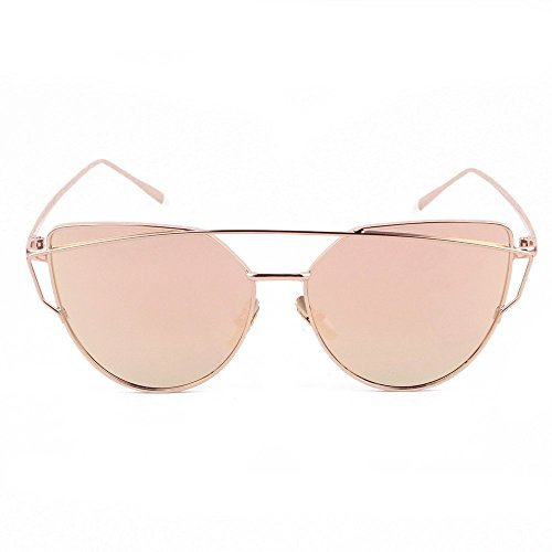 HOLLY Ultralight Protection Polarized Aviator Sunglasses for Women (Gold, Rose -