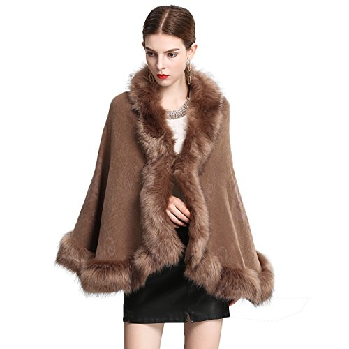 Sweater Faux Cardigan Fur - Caracilia Women Bridal Faux Fur Shawl Wraps Cloak Coat Sweater Khaki2