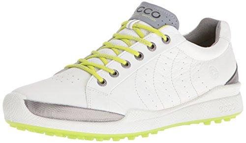 ECCO Men's Biom Hybrid Hydromax Golf Shoe, White/Lime Punch, 10 UK