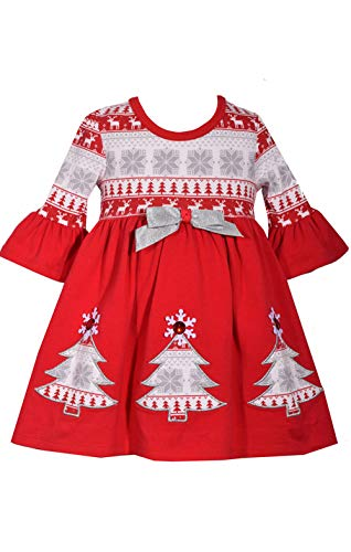Bonnie Jean Baby Red Fair Isle Christmas Tree Cotton Holiday Dress ()