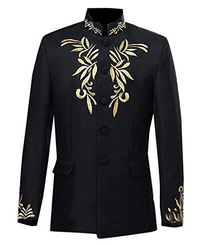XQS Men Mandarin Collar Embroidered 2-Piece Premium Blazer Suit Black M - Embroidered Mandarin Collar Jacket