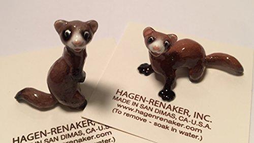Hagen Ferret - Hagen Renaker Ceramic Ferret Set of 2: Standing and Lying Ferrets 03318 and 03319