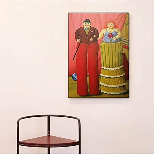 danyangshop Famoso Fernando Botero Stilt Payaso Lienzo Pintura Abstracta Poster Impresion Colorida Pared Arte Cuadros para Sala Pasillo Moderno A465 (50X60Cm) Sin Marco