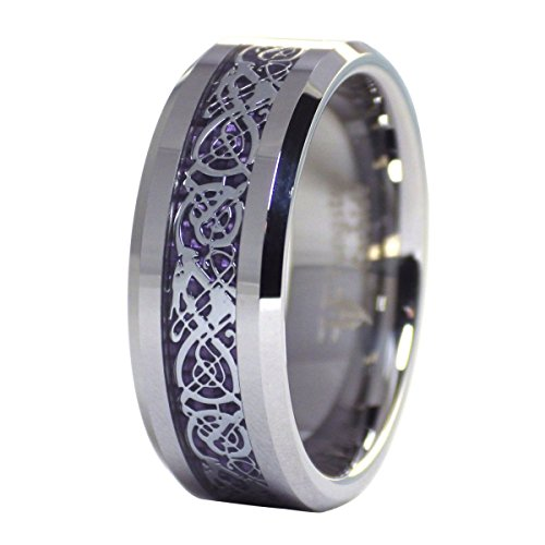 Dragon Solid Ring (Celtic Dragon Ring Royal Purple Carbon Fiber Tungsten Band Comfort Fit Size 11)