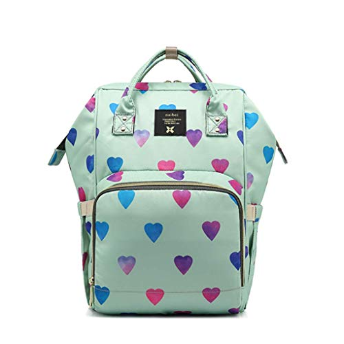 - Heart Print Water-Resistant Diaper Backpack for Mommy with Stroller Hooks Lightweight Large Capacity Rucksack (Green)