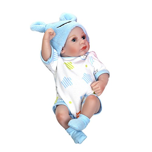 Shoresu Reborn born Baby Realike Doll Pet Plush Toy Hot Cute Speak Talking Sound Record Hamster Educational Toy for Children Gift Blue Cloth ()