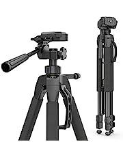 Hama Action 165 3D Fotostatief (hoogte 61 – 165 cm, 3-weg kop, rubberen voetjes en spikes, belastbaarheid tot 4 kg, gewicht 1320 g licht, camera statief incl. draagtas) zwart