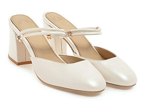 Women's White Heels Toe Chunky Square Aisun New Mid Sandals dRxSnqdCwg