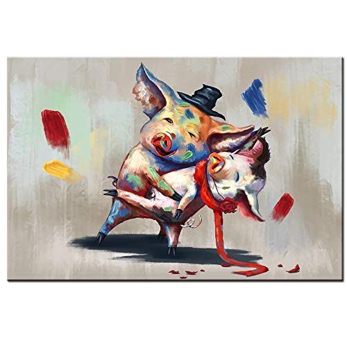 sechars Funny Animal Wall Art Lovely Pigs in Dancing Painting Art Print on Canvas Modern Living Room Bedroom Decor Abstract Animal Poster Stretched and Framed Ready to Hang 24x36