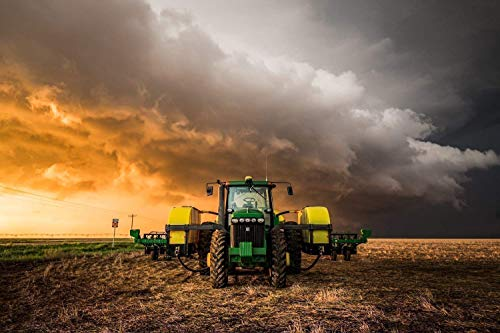 - Farming Photography Wall Art Print - Picture of Tractor and Golden Thunderstorm Farm Artwork for Home Decoration 5x7 to 40x60