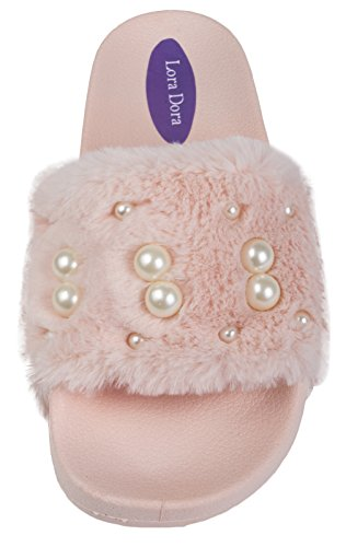 Lora Dora Womens Diamante Faux Fur Sliders Pink - With Fake Pearls FbQ1zz