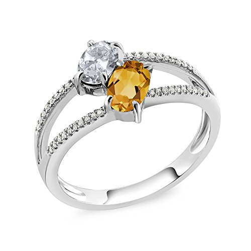 10K White Gold 1.18 Ct Oval White Topaz Yellow Citrine Two Stone Ring (And Ring Diamond Citrine)