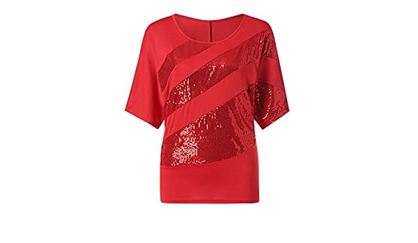 OrchidAmor Women Sequin Causel T-Shirt Top Cold Shoulder Blouse Plus Size Red at Amazon Womens Clothing store: